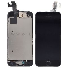 Black Assembly for iPhone SE (LCD + Touch screen + Face camera + Earpiece + Home button)